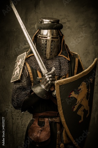 Printed kitchen splashbacks Knights Medieval knight with a sword