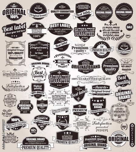 Set of vintage retro labels, stamps, ribbons and marks, vector