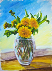 Dandelions, oil painting on canvas