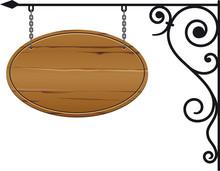 Ovales Holzschild An Ausleger Vector