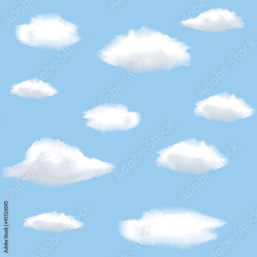 Poster Hemel Seamless background with clouds on sky.