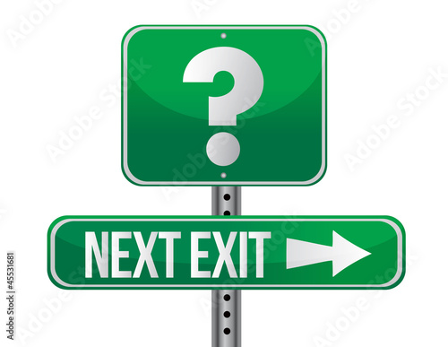Next exit with question mark illustration design Wall mural