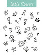 Little flowers hand-drawn vector set