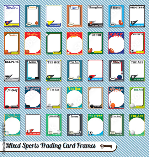 Fotografie, Obraz  Vector Set: Retro Mixed Sport Trading Card Picture Frames
