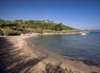 Saint Tropez beach in morning french riviera, mediterranean sea