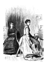 Two Fair Maidens, Victorian Vintage Engraved Illustration