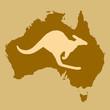 Australia kangaroo over map
