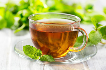Fototapetacups of tea with mint