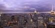 New York skyline at dusk, panoramic view