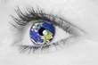 canvas print picture - Auge mit Erde _ soft