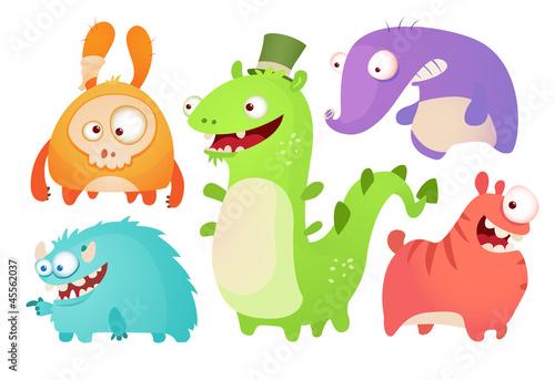 Acrylic Prints Dinosaurs Cute Cartoon Monsters