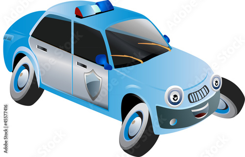 Keuken foto achterwand Cars cartoon police vehicle