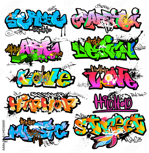 Graffiti wall vector urban art Canvas Print