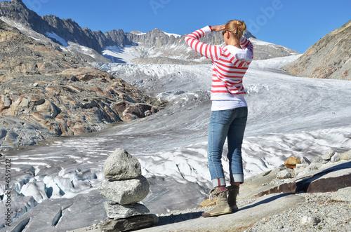 Papiers peints Arctique Traveler against Rhone glacier. Switzerland