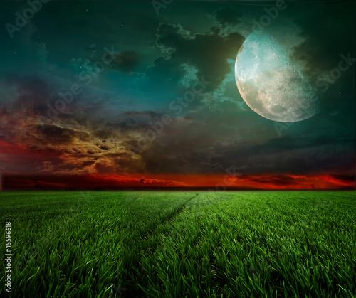 Poster Pleine lune Rural night with moon