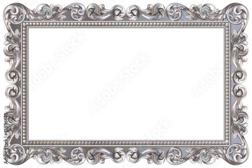 Fotografie, Obraz  Cadre baroque rectangulaire argenté