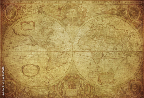 Photo vintage map of the world 1630..