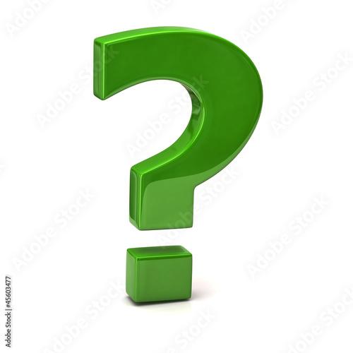 Foto  Green question mark sign