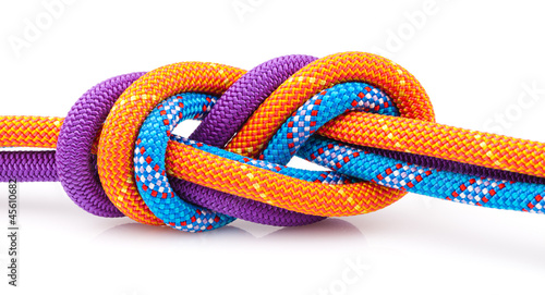 Fotografiet  eight  rope knot isolated on white