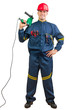 Young happy construction worker holding drilling machine