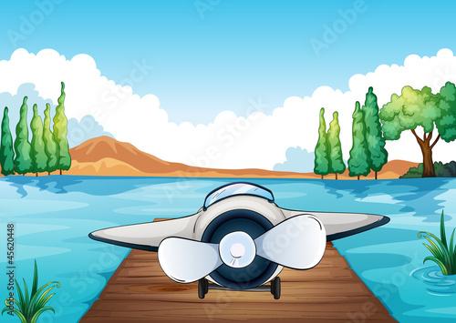 Papiers peints Avion, ballon river, bench and aeroplane