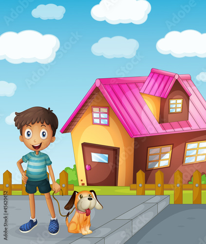 Foto op Canvas Honden boy, dog and house