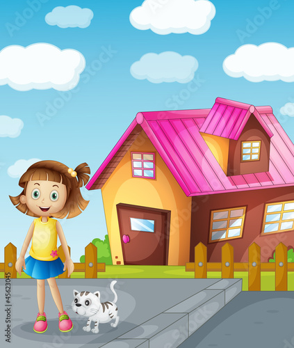 Foto op Canvas Honden a girl and cat infront of house