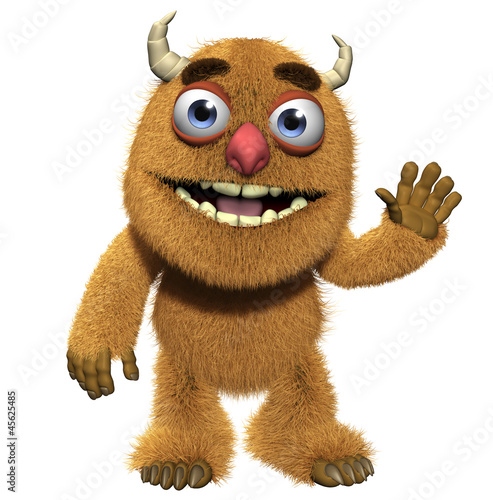 Poster de jardin Doux monstres 3d cartoon cute furry monster