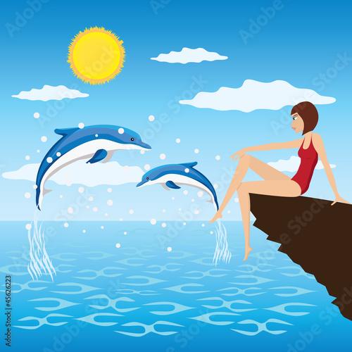 Staande foto Dolfijnen Girl and dolphins.
