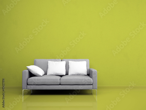 Modern Grey Sofa On The Green Wall Buy This Stock Illustration And
