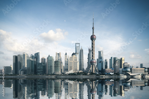 shanghai skyline with reflection Wallpaper Mural