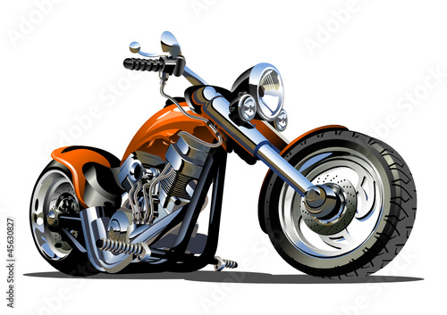 Foto op Canvas Motorfiets Vector Cartoon Motorbike