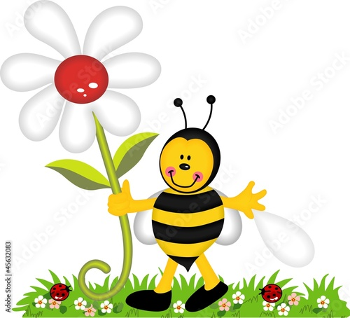 Poster Lieveheersbeestjes Happy bee holding flower in garden