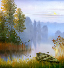 Fototapeta Natura the boat on the bank of the lake, a canvas, oil
