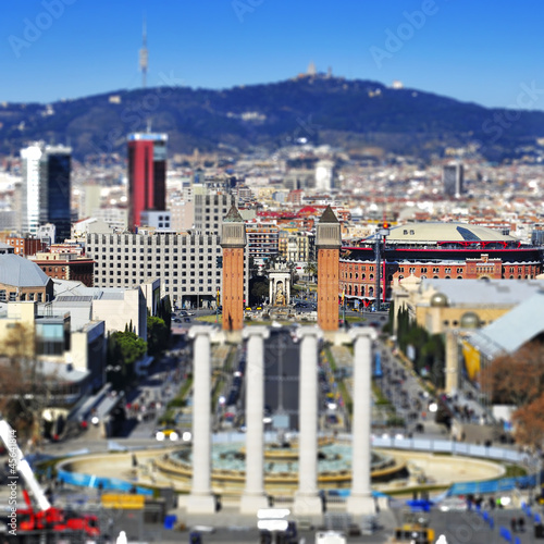 Aluminium Prints Dark grey faked tilt shift of of placa de Espanya in Barcelona, Spain