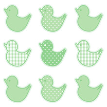 Baby Ducks In Gingham And Polka Dots, Pastel Green