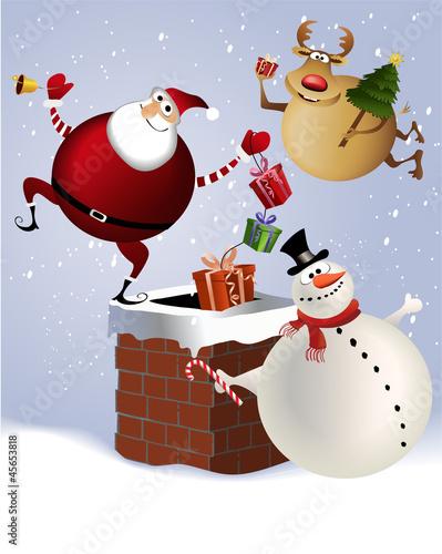 Poster Vogels, bijen Christmas chimney