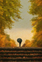 Digital Painting Of Lonely Man With Umbrella Walking In Autumn P