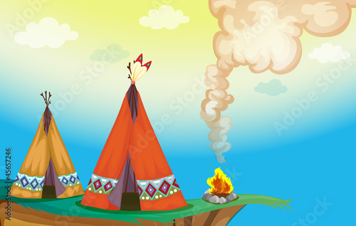 Canvas Prints Indians tent house and fire