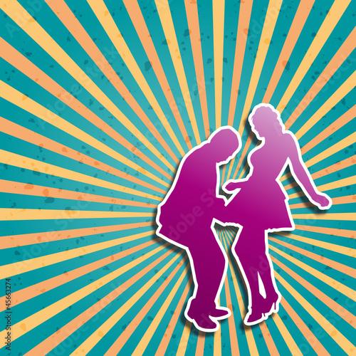Obraz w ramie Vector Cover Disc Dance