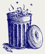 Trash Bin Full Of Garbage. Doo...