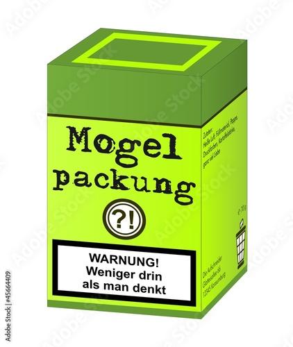 Fotografering Mogelpackung mit Warnhinweis