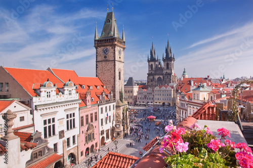 Prague Cathedral and Clock Tower Wallpaper Mural