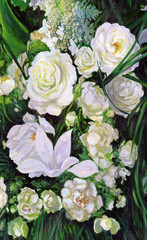 Fototapetabouquet of white roses, canvas, oil