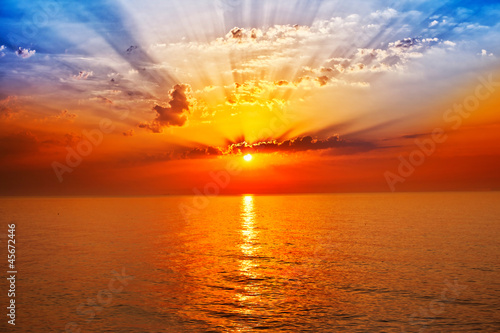 Poster Mer coucher du soleil sunrise in the sea