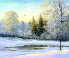 Fototapeta Rzeki i Jeziora beautiful winter landscape, canvas, oil