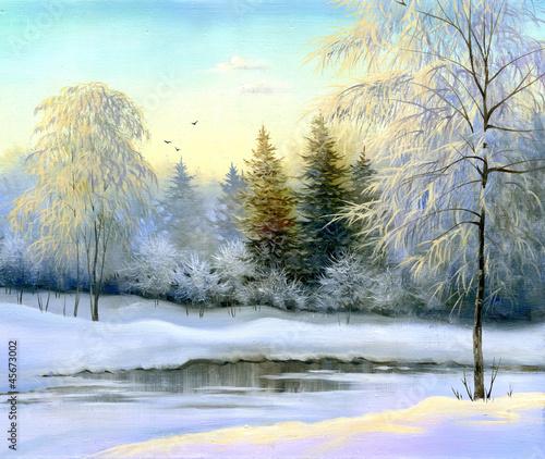 piekny-zimowy-krajobraz-plotno-olej