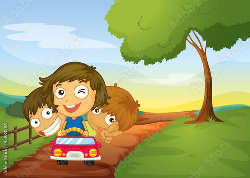 Spoed Foto op Canvas Boerderij kids and car