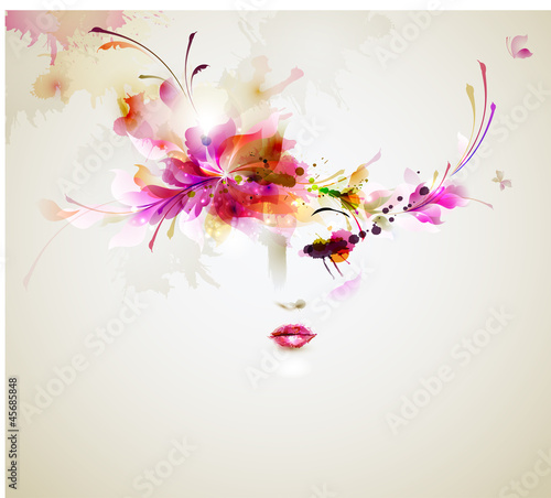Photo sur Toile Floral femme Beautiful fashion women with abstract design elements