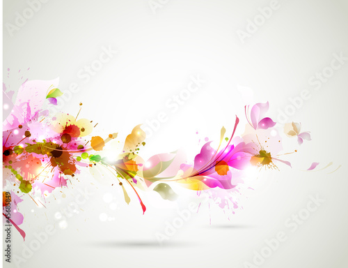 Foto op Canvas Bloemen vrouw Abstract background with branch of floral